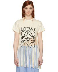 Loewe - Beige Fringe T-shirt - Lyst