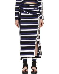 3.1 Phillip Lim - Navy Striped Wrap Fitted Skirt - Lyst