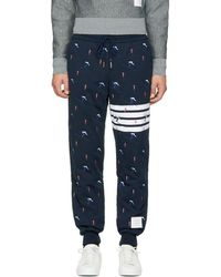 Thom Browne - Navy Classic Four Bar Skier Lounge Pants - Lyst