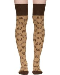 Gucci - Beige & Brown Gg Supreme Stockings - Lyst