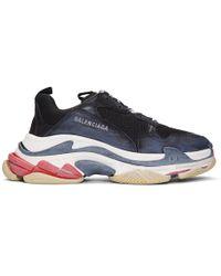 Balenciaga - Black Triple S Leather Sneakers - Lyst