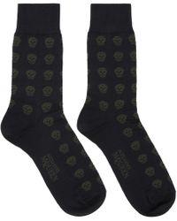 Alexander McQueen - Navy Skull Socks - Lyst