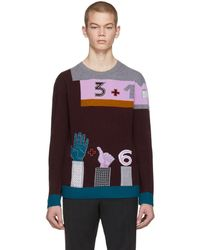 Valentino - Burgundy Colorblock Counting Sweater - Lyst