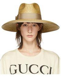 Gucci - Beige GG Crystal Straw Hat - Lyst