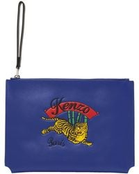KENZO - Blue Jumping Tiger Pouch - Lyst