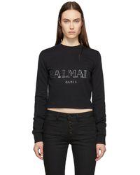 Balmain - Black Cropped Logo Sweatshirt - Lyst
