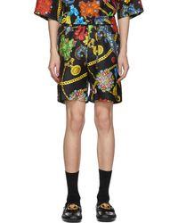 Versace - Multicolor Silk Floral Shorts - Lyst