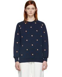 Maison Kitsuné - Navy Embroidered All-over Fox Head Sweatshirt - Lyst