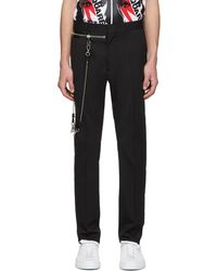 DSquared² - Black Wool Chain Hockey Trousers - Lyst
