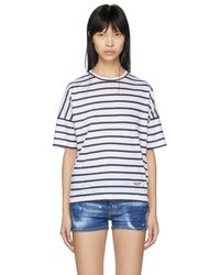 DSquared² - White And Navy Striped Linen Leisure T-shirt - Lyst