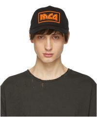McQ - Black And Orange Embroidered Metal Logo Cap - Lyst
