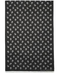 Alexander McQueen - ブラック ウーブン スカル スカーフ - Lyst