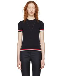 Thom Browne - Navy Short Sleeve Tipping Stripe Sweater - Lyst
