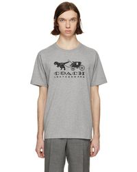 COACH - Grey Embroidered Rexy And Carriage T-shirt - Lyst