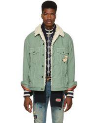 Gucci - Green Corduroy Sherpa Jacket - Lyst