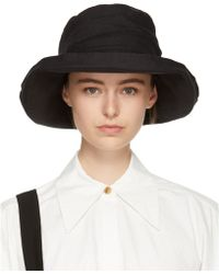 Y's Yohji Yamamoto - Black Linen Big Roche Hat - Lyst