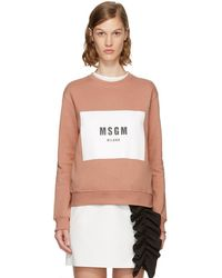 MSGM - Pink Box Logo Sweatshirt - Lyst