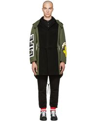 Moschino - Green Patchwork Coat - Lyst