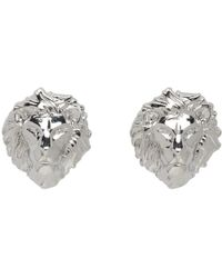 Versus - Silver Lion Head Earrings - Lyst