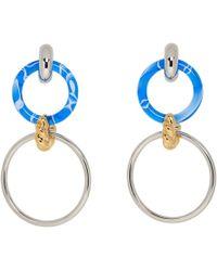 Balenciaga - Silver And Blue Triple Hoop Earrings - Lyst