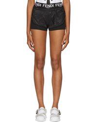 Fendi - Black Nylon Sporty Shorts - Lyst