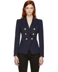 Balmain - Navy Wool Six-button Blazer - Lyst