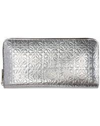 Loewe - Silver Anagram Zip Around Wallet - Lyst