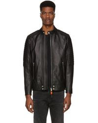 DIESEL - Black Leather L-shiro Jacket - Lyst