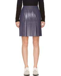 Richard Nicoll - Blue Twill Twist Pleat Skirt - Lyst