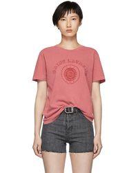 Saint Laurent - Red University T-shirt - Lyst