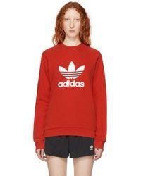 adidas Originals - Red Warm-up Sweatshirt - Lyst