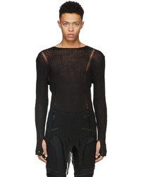 Balmain - Black Distressed Knit Jumper - Lyst