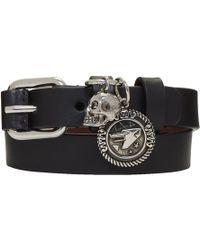 Alexander McQueen - Black And Silver Skull Wide Double Wrap Bracelet - Lyst
