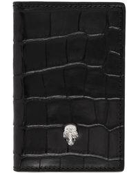 Alexander McQueen - Black Croc Silver Skull Bifold Card Holder - Lyst