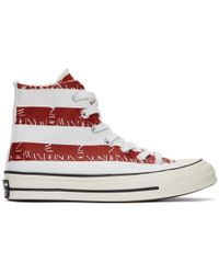 JW Anderson - Indigo And Red Converse Edition Grid Logo Chuck 70 Hi Archive Print Sneakers - Lyst