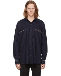 Fear Of God - Navy Piped Oversized Shirt - Lyst