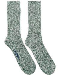 Druthers - Green And White Slub Crew Socks - Lyst