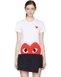 Play Comme des Garçons - White Half Heart T-shirt - Lyst