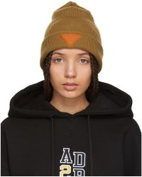 ADER error - Tan Triangle Beanie - Lyst