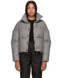Moncler - Black And White Houndstooth Down Cer Jacket - Lyst