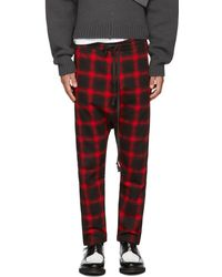 D by D - Red And Black Dropped Inseam Lounge Trousers - Lyst
