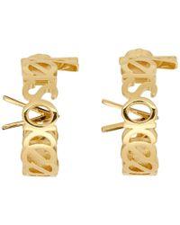 Versace - ゴールド ビンテージ ロゴ スモール フープ ピアス - Lyst