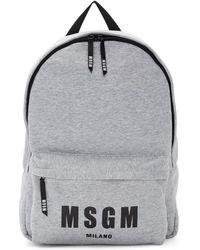 MSGM - Sac a dos en jersey a logo gris - Lyst
