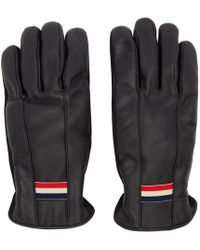 Moncler - Black Leather Guanti Gloves - Lyst