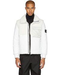 Stone Island - White Leather Shearling Hybrid Jacket - Lyst