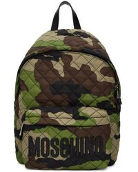 Moschino - Green Camo Quilted Logo Backpack - Lyst