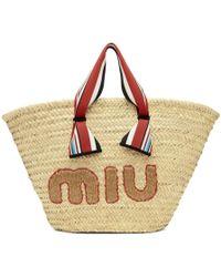 Miu Miu - Tan Ribbon Handle Straw Bag - Lyst