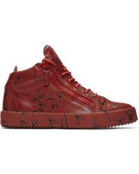 9320911b387f6 Giuseppe Zanotti Red Velvet May London High-top Sneakers in Red for ...