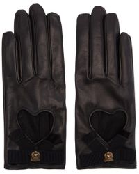 Gucci - Black Leather Heart Bow Gloves - Lyst