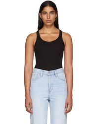 RE/DONE - Black Ribbed Tank Bodysuit - Lyst